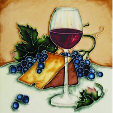 "8"" x 8"" Las Ojas Red Wine Glass and Cheese Art Tile in Multi"