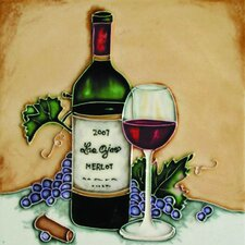 "8"" x 8"" Las Ojas Red Wine Bottle and Glass Art Tile in Multi"