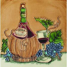 "8"" x 8"" Chianti Bottle and Glass Art Tile in Multi"