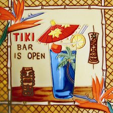 "8"" x 8"" Tiki Bar Is Open Art Tile in Multi"