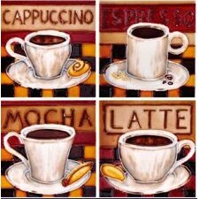 "4"" x 4"" Coffee Art Tile in Brown (Set of 4)"