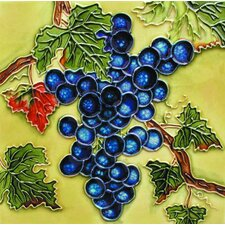 "8"" x 8"" Grapes Art Tile in Purple"