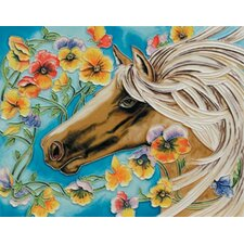 "14"" x 11"" White Horse Art Tile"