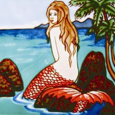 "8"" x 8"" Mermaid Art Tile in Multi"