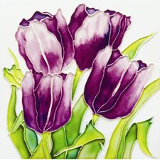 "8"" x 8"" Four Tulips Art Tile in Purple"