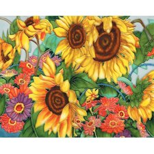 "14"" x 11"" Gerbera and Sunflower Garden Art Tile in Multi"
