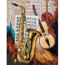 "14"" x 11"" Saxophone and Violin Art Tile in Multi"