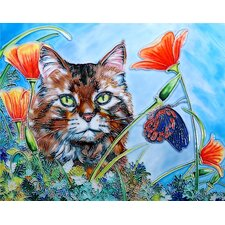 "14"" x 11"" Cat Art Tile in Multi"