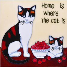 "8"" x 8"" Home Is Where the Cat Is Art Tile in Multi"