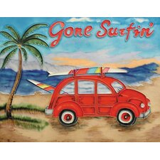 "14"" x 11"" Gone Surfin Art Tile in Multi"