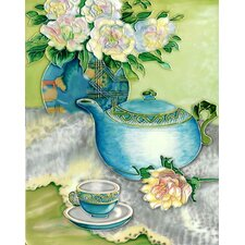 "14"" x 11"" Blue Tea Pot Set Art Tile"