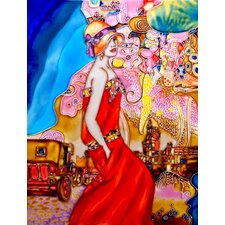 "<strong>En Vogue</strong> 14"" x 11"" Red Dress Woman Art Tile"