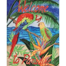 "14"" x 11"" Parrots by the Beach Art Tile in Multi"
