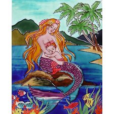 "14"" x 11"" Mermaid with Baby Mermaid Art Tile in Multi"