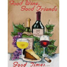 "14"" x 11"" Good Wine, Good Friends, Good Times Art Tile in Multi"