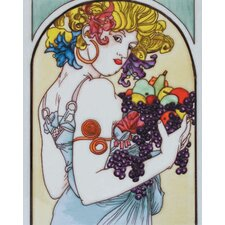 "<strong>En Vogue</strong> 14"" x 11"" Lady Looking Back Art Tile in Multi"