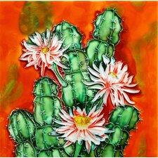 "8"" x 8"" Cactus with Pink Flowers Art Tile"