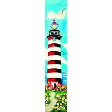"16"" x 3"" White and Red Light House Art Tile in Multi"