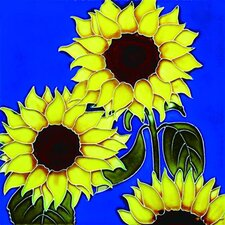 "8"" x 8"" 3 Sunflowers Art Tile in Yellow"