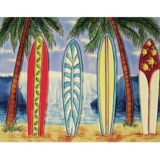 "14"" x 11"" Four Surfboards with Ocean View Art Tile in Multi"