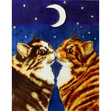 "14"" x 11"" Kissing Cats Art Tile in Multi"