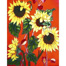 "14"" x 11"" Sun Flowers in Red Background Art Tile"