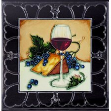 "12"" x 12"" Frame - Las Ojas Red Wine Glass Art Tile in Multi"