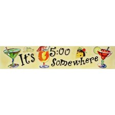 "16"" x 3"" It's 5 O'clock Somewhere with Drink Art Tile in Multi"