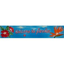 "16"" x 3"" Welcome to Paradise Art Tile in Blue"