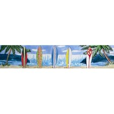 "16"" x 3"" 5 Surfboards and Ocean View Art Tile in Blue"
