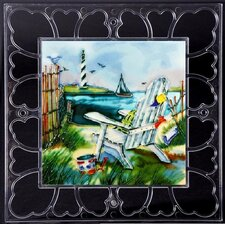 "<strong>En Vogue</strong> 12"" x 12"" Frame - Chair with Light House View Art Tile in Multi"