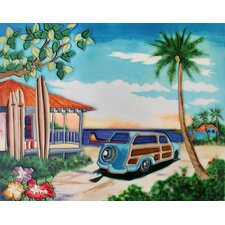 "14"" x 11"" Woody Car by the Beach Art Tile in Multi"