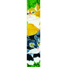 "16"" x 3"" Black and Yellow Cats Art Tile in Multi"