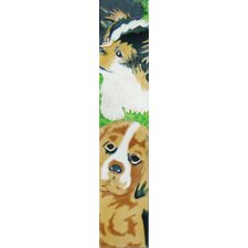 "16"" x 3"" Black and Brown Dogs Art Tile in Multi"