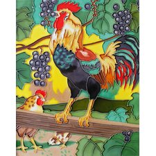 "14"" x 11"" Chicken Eat Grapes Art Tile in Multi"