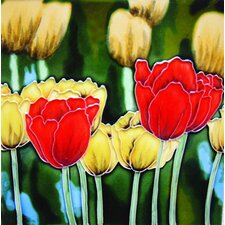 "8"" x 8"" Tulips Art Tile in Multi"
