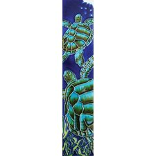 "<strong>En Vogue</strong> 16"" x 3"" Big Sea Turtle Art Tile in Blue"