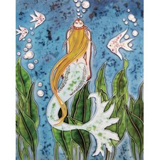 "14"" x 11"" Yellow Hair Mermaid Art Tile in Multi"