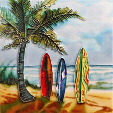 "8"" x 8"" Surfboards Art Tile in Multi"