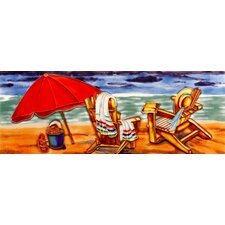 "16"" x 6"" Beach Chair and Umbrella Art Tile in Multi"