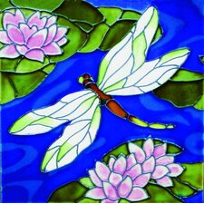 "<strong>En Vogue</strong> 8"" x 8"" Big Dragonfly with Lily Art Tile in Multi"
