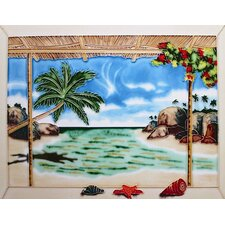 "14"" x 11"" Patio by the Sea Art Tile in Multi"
