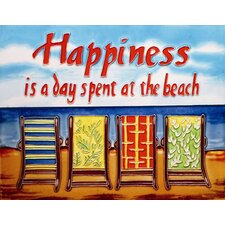 "14"" x 11"" Happiness is a Day Spent at the Beach Art Tile in Multi"