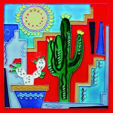 "8"" x 8"" Cactus and Sun Art Tile in Multi"