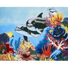 "<strong>En Vogue</strong> 14"" x 11"" Dolphins Art Tile in Multi"