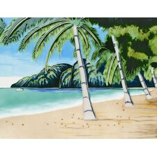 "14"" x 11"" Palm Trees View by the Mountain Art Tile in Multi"