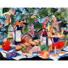 "14"" x 11"" Vineyard Picnic Art Tile in Multi"
