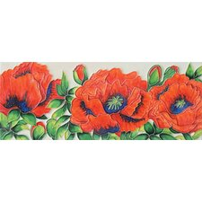 "16"" x 6"" Poppies Art Tile in Red"