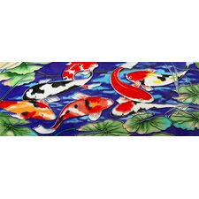 "16"" x 6"" Koi Pond Art Tile in Multi"