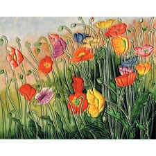 "14"" x 11"" Poppies Art Tile in Multi"